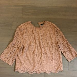 H&M Peachy Pink Lace 3/4 Length Sleeved Blouse